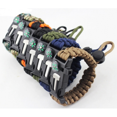 SUNHOO Adjustable Paracord Rope Braided Survival Bracelet With Compass